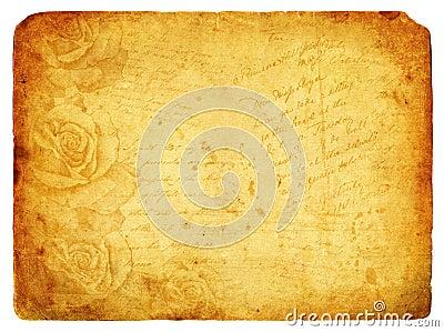 Vintage background image with roses. Old postcard.
