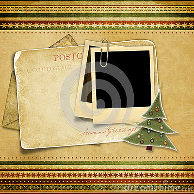 Vintage background with old Christmas card