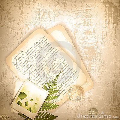 Vintage background with with old letter