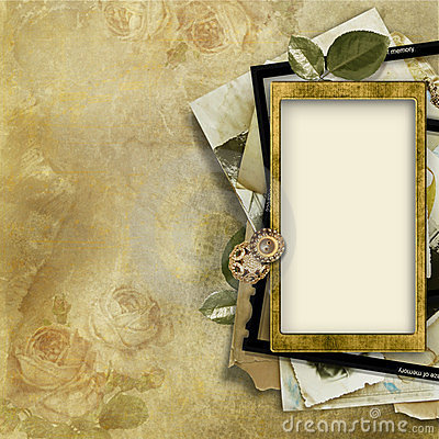 Vintage background with old photo-frame