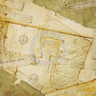 Vintage background, old Postcard and envelopes