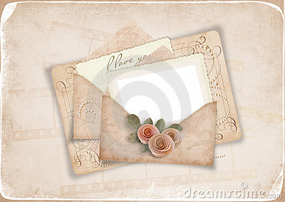 Vintage background with old postcard to a loved