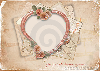 Vintage background with old postcards and heart