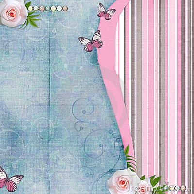 Pink vintage butterfly background - photo#4