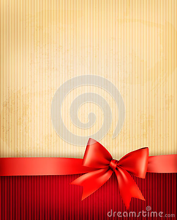 Vintage background with red gift bow and ribbon