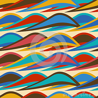 Free Vintage Background Seamless Pattern With Colorful Waves Stock Image - 51783201