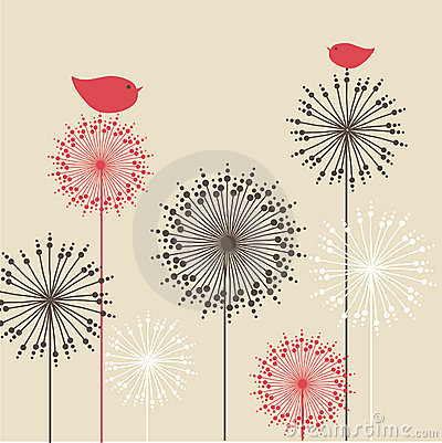 Free Vintage Background With Red Birds And Flowers Stock Images - 15954304