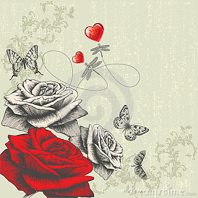 Free Vintage Background With Roses, Butterflies, Dragon Stock Photo - 23621380