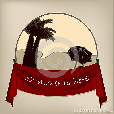 Vintage badge design of tropical beach