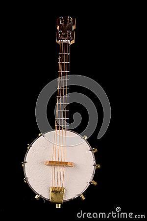 Vintage banjo Selective focus on strings.