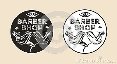 Vintage barber shop vector emblem, badge, sign, sticker layout. Two color variants Vector Illustration