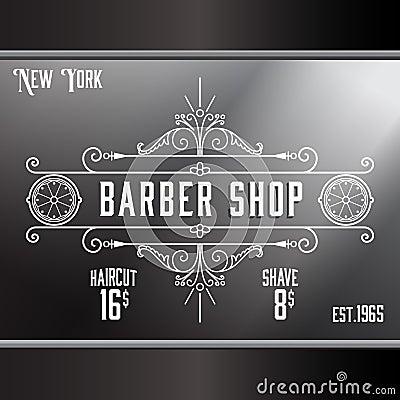 Vintage barber shop window advertising template stock vector image