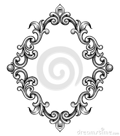 Vintage baroque frame engraving scroll ornament vector Vector Illustration