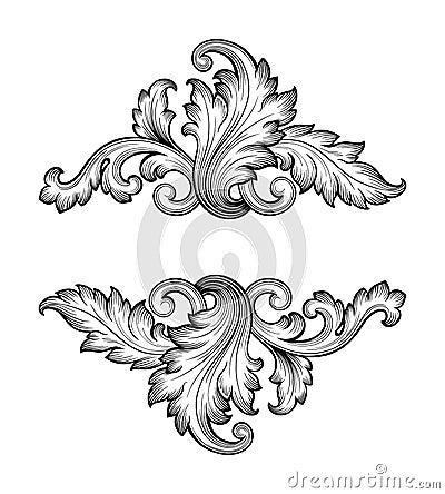 Vintage baroque frame scroll ornament vector Vector Illustration