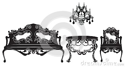 Vintage Baroque sofa and armchairs set Vector Illustration
