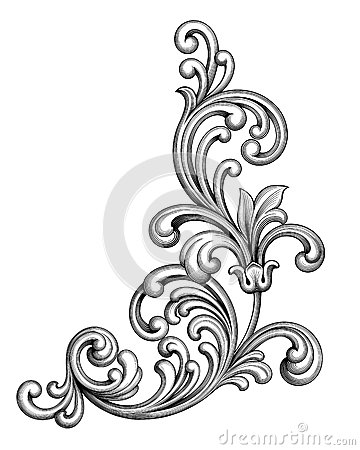 Vintage Baroque Victorian frame border monogram floral ornament scroll engraved retro pattern tattoo calligraphic Vector Illustration