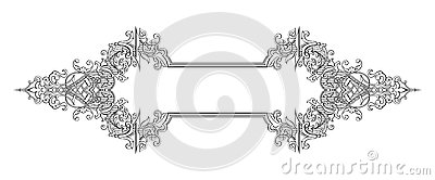 Vintage Baroque Victorian frame border monogram floral ornament scroll engraved retro pattern tattoo calligraphic vector heraldic Vector Illustration