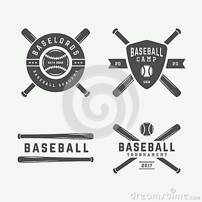 Free Vintage Baseball Logos, Emblems, Badges And Design Elements. Stock Image - 85504181
