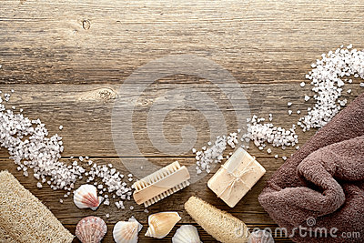 Vintage Bath Accessories on Wood Spa Background