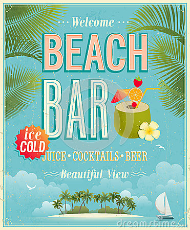 Free Vintage Beach Bar Poster. Stock Photos - 30455823