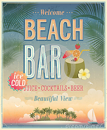 Free Vintage Beach Bar Poster. Royalty Free Stock Images - 42066099