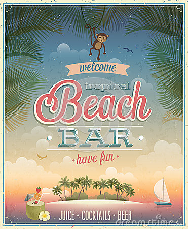 Free Vintage Beach Bar Poster. Stock Photography - 42066422