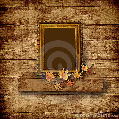 Vintage beautiful frame on  wooden background