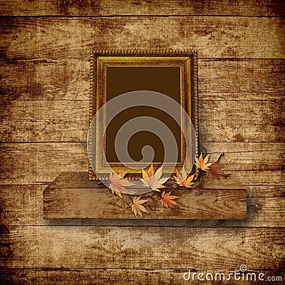 Vintage beautiful frame on  wooden background