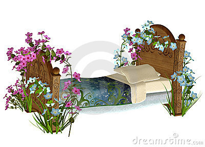 Vintage bed with flowers