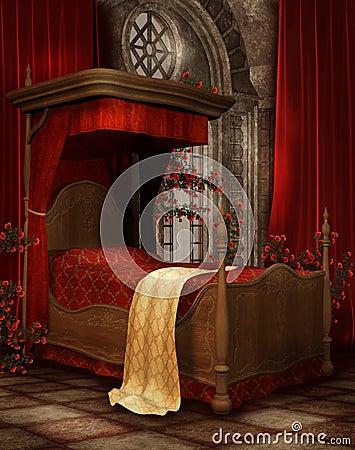 Vintage bedroom with roses