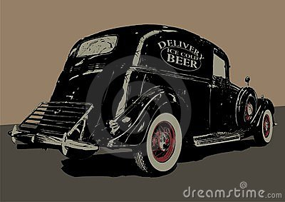 Vintage beer delivery car