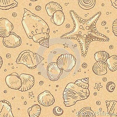 Vintage beige seamless seashells pattern