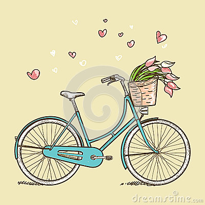 Free Vintage Bicycle With Flowers Royalty Free Stock Image - 29125456
