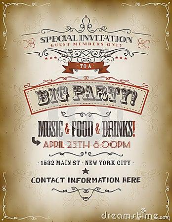 Free Vintage Big Party Invitation Poster Stock Photo - 36504050