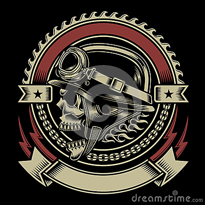Free Vintage Biker Skull Emblem Royalty Free Stock Photography - 44574087