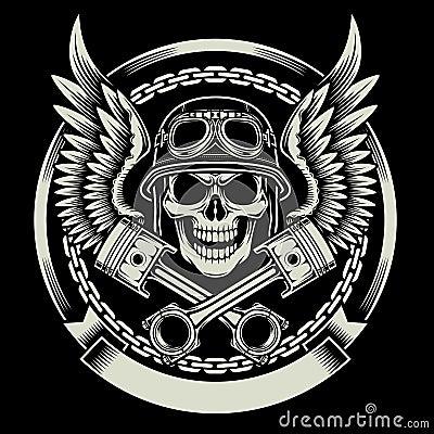 Vintage Biker Skull Wings Pistons Emblem Fully Editable Vector Illustration Black Background Image Suitable Piston