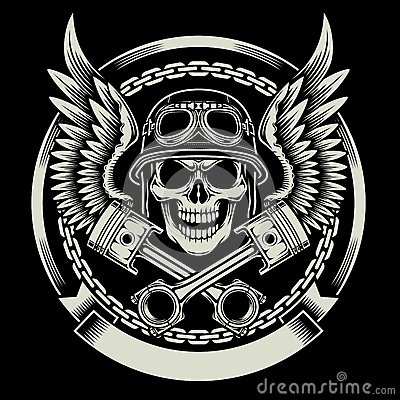 Free Vintage Biker Skull With Wings And Pistons Emblem Stock Photos - 58285553