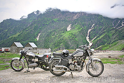 Vintage Bikes On Himalayan Adventure Stock Photography - Image: 653032
