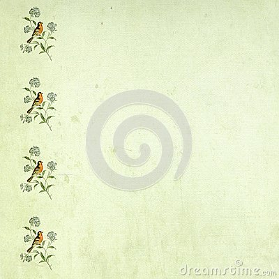Free Vintage Bird Border Green Scrapbooking Page. Stock Image - 30397861