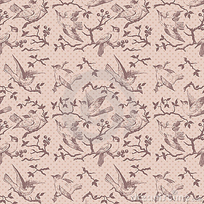 Vintage bird seamless repeatable pattern in pink