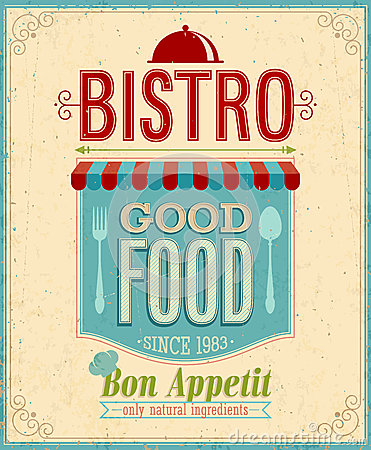 Free Vintage Bistro Poster. Royalty Free Stock Photography - 30455847
