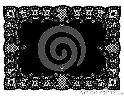 Vintage Black Lace Doily Place Mat