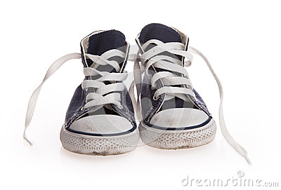 Vintage black shoes on white background