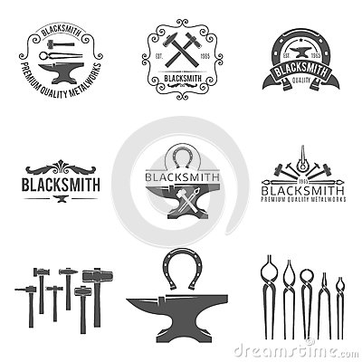 Free Vintage Blacksmith And Metalworks Logos, Emblems Royalty Free Stock Photography - 61710117