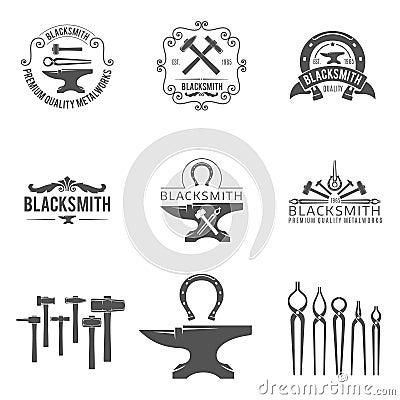 Vintage Blacksmith And Metalworks Logos Emblems Stock