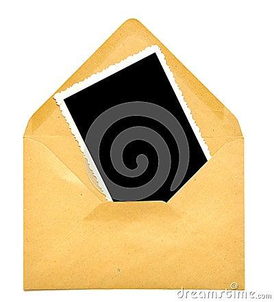 Vintage blank photo frame on envelope