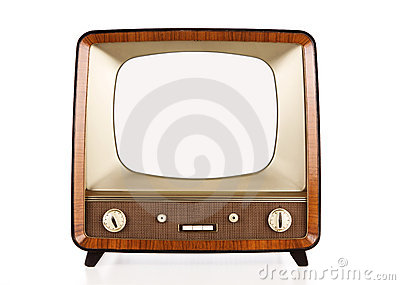 Vintage blank tv with path
