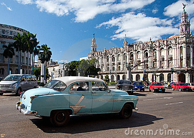 Vintage blue car in Havana Editorial Stock Photo