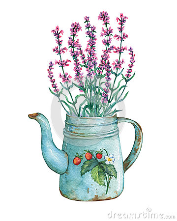 Free Vintage Blue Metal Teapot With Strawberries Pattern And Bouquet Of Lavender Flowers. Royalty Free Stock Image - 84674836