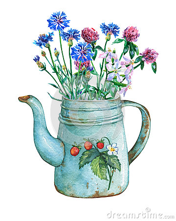 Free Vintage Blue Metal Teapot With Strawberries Pattern And Bouquet Of Wild Flowers. Royalty Free Stock Photos - 84601958